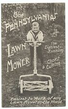 Pennsylvania Lawn Mower Advertising Postcard, Unused, With Boy in Sailor Suit
