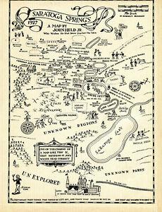 "Original vintage 1931 Map of Saratoga Springs, size 8.5"" x 11"". Nice Patina"