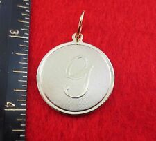 """14 KT GOLD EP LARGE(OVER 1"""") ROUND INITIAL DISC LETTER G PENDANT CHARM"""
