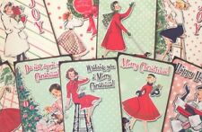Vintage Christmas retro Lady Style Card Toppers, Gift Tags Make Your Own Cards