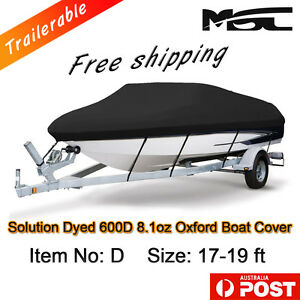 MSC Heavy Duty 600D 17-19ft 5.2-6.0m Marine Grade Trailerable Boat Cover black