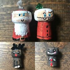 Handmade Champagne Cork Christmas Decoration-Painted-Santa-Reindeer-Gingerbread