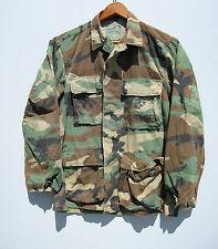 Vintage Camo Jacket Shirt Camouflage Green Woodland Hunting Military Bdu Short S