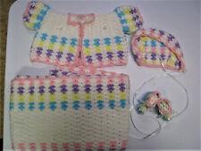 Crochet Baby Set - Blanket Hat Booties Sweater Pink White Blue Yellow Purple