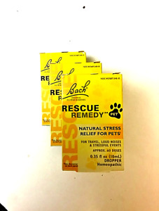 Lot of 3, (10 ml ea.) Bach RESCUE REMEDY for PETS  exp. Aug 2025