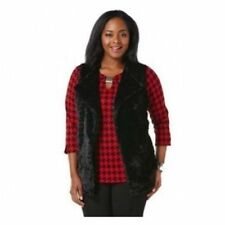 75f4b028515 Rafaella Plus Size 2X Black Faux Fur Open Front Vest with Knit back NWT