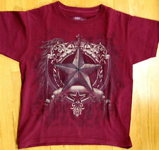 HELIX BOYS - MAROON RED - SHORT Sleeves - Star Graphic T-Shirt- SIZE SMALL