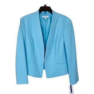 NINE WEST Womens Shawl Collar Kiss Front Blazer Jacket XL Blue Crepe Womens New