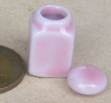 1:12 Scale Square Pink Ceramic Storage Jar & Lid 1.7cm Tumdee Dolls House P30
