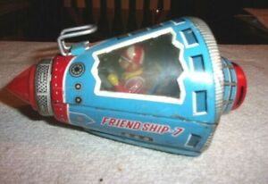 Old Vintage Original Friction Powered Friend Ship 7 Space Ship Working 1960s