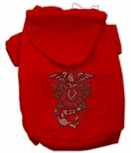 """Mirage Pet Products EAGLE ROSE NAILHEAD RED Hoodie SMALL 10"""" BACK Jumper BEADED"""