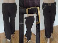 FiretrapHoseChino Pant Jeans weites Beinmit Zugband Schwarz Gr 30 L32 Neu