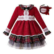 Girls Kids Red Multi-Layered Lace Dress Set Plaid Spanish Christmas Pageant Gown