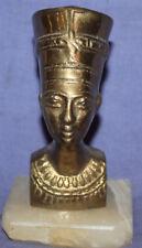 Vintage Egyptian Nefertiti brass bust figurine with marble base