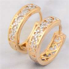 Fashion 9K Yellow & White Gold Filled Hollow Out Womens Hoop Earring