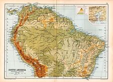1909 MAP ~ SOUTH AMERICA NORTHERN SECTION ~ PHYSICAL BRAZIL COLOMBIA PERU