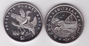 ERITREA - RARE 1$ UNC COIN 1996 YEAR KM#34 ANIMALS CRANES