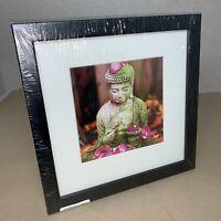 "Black 25cm Square Photo Frame w/ BUDDHA Print - 160mm 6.25"" Picture B231 MZ"