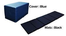 MULTI PURPOSE S.LEATHER MAGIC BOX YOGA GYM CUSHION FOLDABLE MATS BLUE COLOR