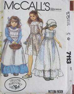 VTG 70s 80s McCalls Sewing Pattern Girls Dress Apron Bonnet Laura Ashley Age 8