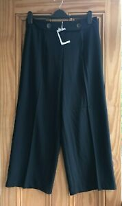 Ex WAREHOUSE NEW Navy Blue Straight Leg Cropped Work Trousers Size 6-12 RRP=£36