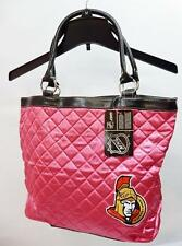 NHL Ottawa Senators Pink Quilted Tote Shopping Bag Trimmed in faux leather
