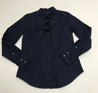 J. Crew Women's Perfect Cotton Collared Button Down Velvet Bow Blouse Shirt Top