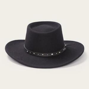 "Stetson Men's Black Hawk Crushable Wool Gambler Hat, Black, 3 1/2"" Brim, US Made"