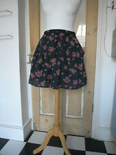 Page Boy Pink floral on Navy / Dark blue gathered flippy mini Skirt  S