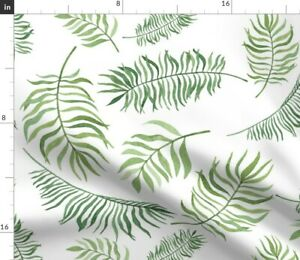 Watercolor Leaves Palm Fronds Greenery Island Spoonflower Fabric by the Yard