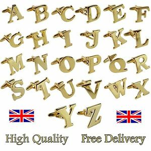 Single (Buy 2 For A Pair) Gold Alphabet Initial Mix & Match Letter Cufflink UK