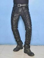 Lace-Up Genuine Leather Slim Fit Real Lambskin Men Leather Pant