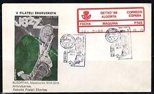 ESPAÑA ETIQ. CONM. 1988 GETXO 88 ALGORTA JAZZ ALDIA 1 SOBRE  FRANQUEO MAQUINA 22