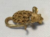 Vintage Mamselle Mouse Pin Brooch Gold Tone Textured Signed Costume Jewelry
