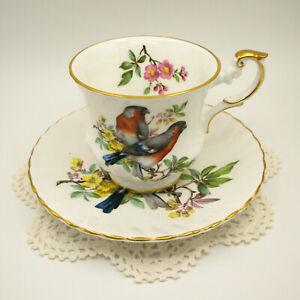 ROSINA Fine Bone China England tea Cup Saucer Vintage 2 Birds Flowers Pattern