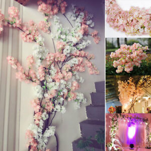 100cm Artificial Branch Cherry Blossom Fake Silk Flower Tree Party Decor #N02