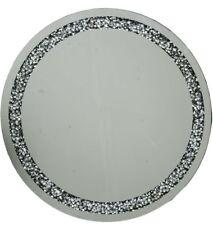 GRANDE Gatsby Argento Tondo Specchio Parete diamante cristalli bordatura 70cm di diametro