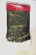 48 IN CHARTREUSE GREEN SEQUINS WHITE FAUX FUR TREE SKIRT CHRISTMAS DECORATION