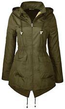 New Womens Fishtail Plain Detachable Hooded Parka Raincoats Jackets 18-24