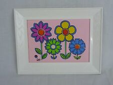 Vtg Mid Century Picture Print Framed Wall Hanging MOD Flower Power Floral Shelly