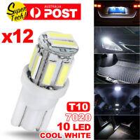 12PCS White T10 7020 10-LED Bulb Car W5W Wedge Dash Roof Stop Parker Plate Light