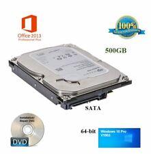500GB 64-bit * Desktop Computer Hard Drive Windows 10 Office 2013 Plug&Play