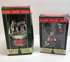 Coca Cola Trim A Tree Collection Vintage Christmas Ornaments Musical 1997 Coke
