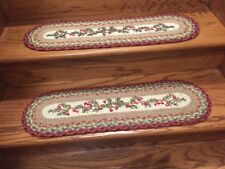 Cranberry Print Braided Stair Tread by Earth Rugs-13 pc Set