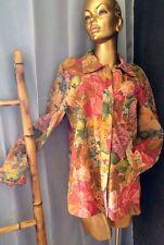 CASA LOPEZ Argentina Genuine Leather Realistic Floral Shirt Blazer Jacket Sz S