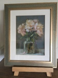 """Lovely Vintage/country Style Floral Picture In Decorative Gold Frame 12 X 10"""""""