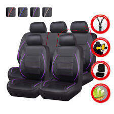 CAR PASS Leather Car Seat Covers Set - Black/Purple (ZT00120)