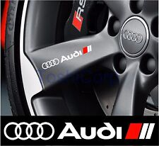 4 AUDI Stickers Decals Wheels Rims Door handle Mirror WHITE