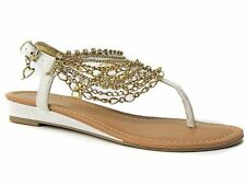 Thalia & Sodi Women's Lizette Flat Sandals White Stingray Size 5 M
