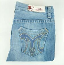 MEK mens 33x34 Hessdale denim blue jeans straight fit button fly distressed A3-5